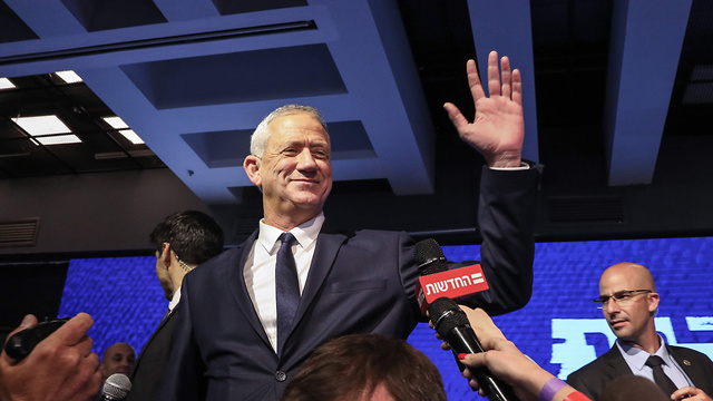 Benny Gantz at campaign headquarters as the election results came in, April 9, 2019 (Photo: AFP)