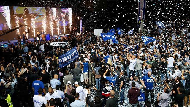 Celebrations at Likud headquarters (Photo: AFP)