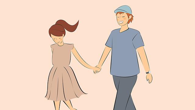 איור של זוג אוחז ידיים (צילום: Shutterstock)