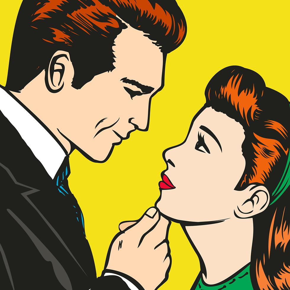 איור של זוג מפלרטט (צילום: Shutterstock)