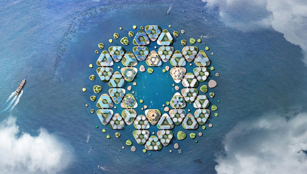 """מבט מלמעלה על העיר הצפה שתכננו אדריכלי """"ביג"""": מערכת מודולרית גמישה לשינויים, המורכבת ממשולשים שכל אחד מהם הוא שכונה. השכונות והרובעים מחוברים ביניהם בגשרים. מסביב לעיר איים קטנים יותר, שיכילו שטחים לייצור אנרגיה וחומרי גלם שיספקו את כל צורכיהם של התושבים (הדמיה: BIG Bjarke Ingels Group)"""