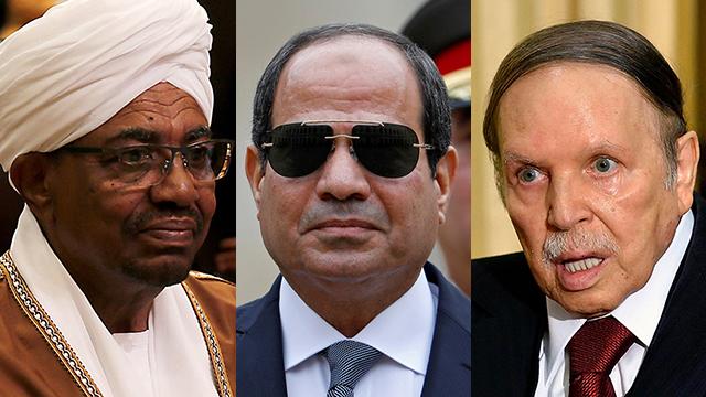 הפיכות צבאיות ב מדינות ערב אפריקה אלג'יריה סודן לוב עבד עומאר אל באשיר עבד אל עזיז בוטפליקה סיסי (צילום: AFP, EPA)