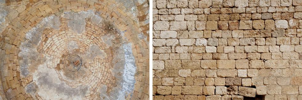 קירות האבן (מימין) ומבט אל הכיפה הגדולה מתוך אולם התפילה (משמאל). צאצאי התושבים הערבים של הכפר ביקשו לשפץ את המסגד ואת בית הקברות אך נתקלו בהתנגדות ונסוגו   (צילום: מיכאל יעקובסון)