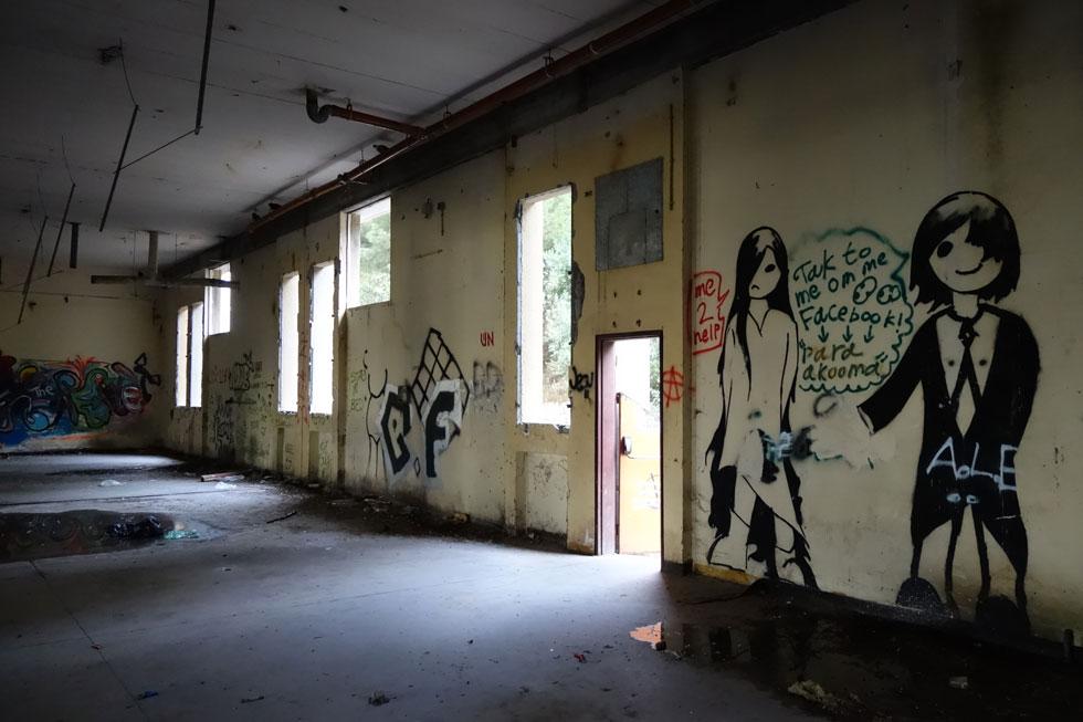 """אולם ייצור נטוש במפעל """"פרמה שרפ"""" לייצור סכיני גילוח בנצרת עילית, שנחנך ב-1964 ועמד במלוא הדרו במרכז העיר. היום כבר אין כאן תעשייה (צילום: מיכאל יעקובסון)"""