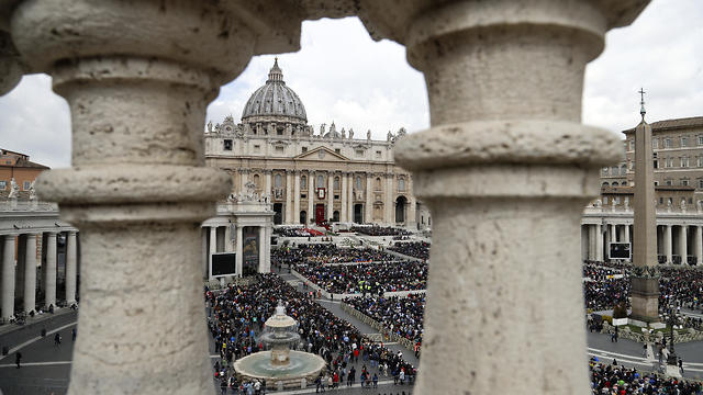 Faithful fill St. Peter's Square at the Vatican, Sunday, April 14, 2019