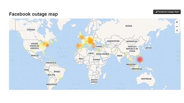Карта отключений Facebook
