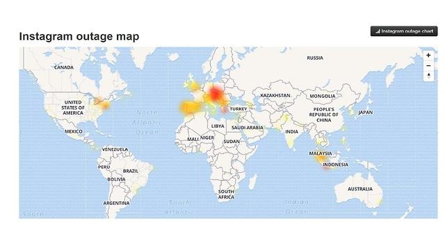Карта отключений Instagram