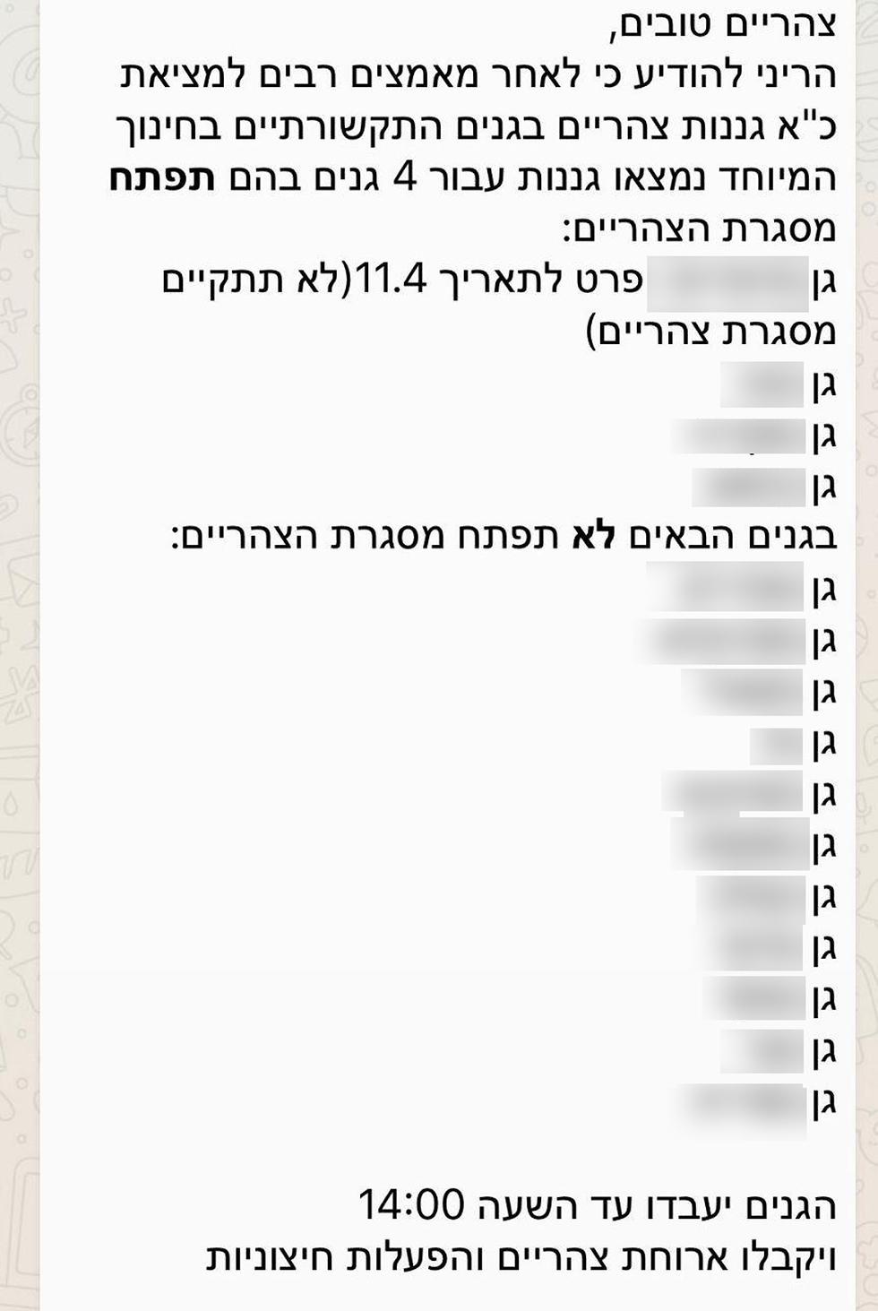 צילום מסך וואטסאפ הודעה פתרון ל הורים מ חיפה מצוקה מצוקת סייעות ב גנים לילדים  עם צרכים מיוחדים ()
