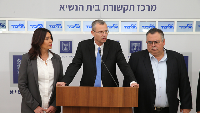 Controversial candidate for Justice Minister Yariv Levin, flanked by Regev and Bitan