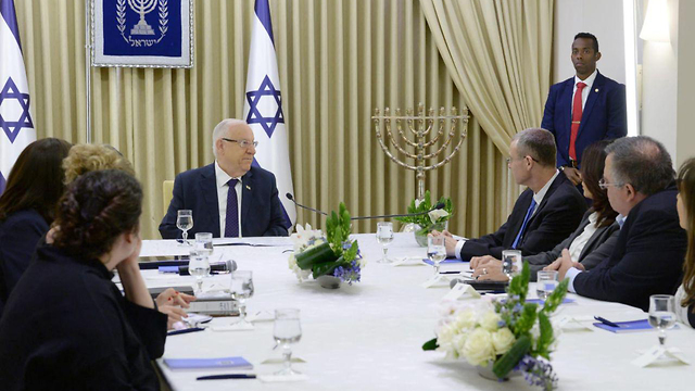 Rivlin during consultations with party leaders (Photo: GPO)