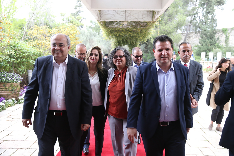 Members of the now-defunct Hadash-Ta'al faction at the president's official residence in Jerusalem, following the April 2019 elections (Photo: Amit Shabi)