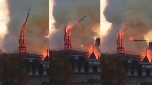 צריח מתמוטט שריפה קתדרלה נוטרדאם פריז צרפת ()