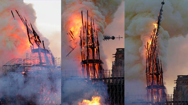שריפה קתדרלה נוטרדאם פריז צרפת (צילום: AFP, EPA)