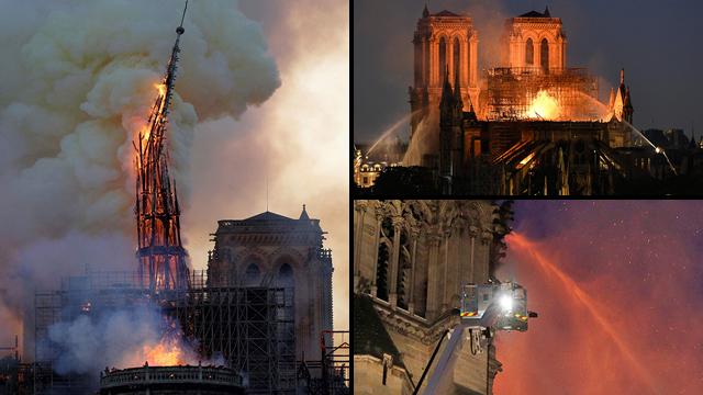 שריפה קתדרלה נוטרדאם פריז צרפת (צילום: רויטרס, AFP, EPA)