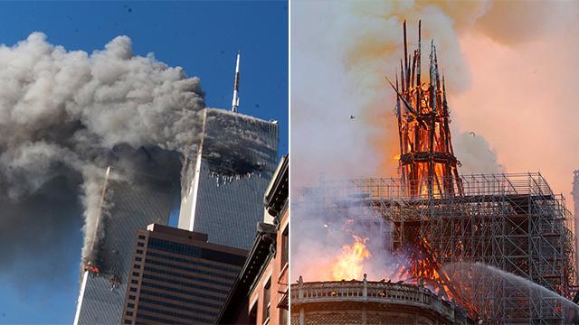 הפיגוע ב-11/9 והשריםה בנוטרדאם (צילום: סוכנויות הידיעות)