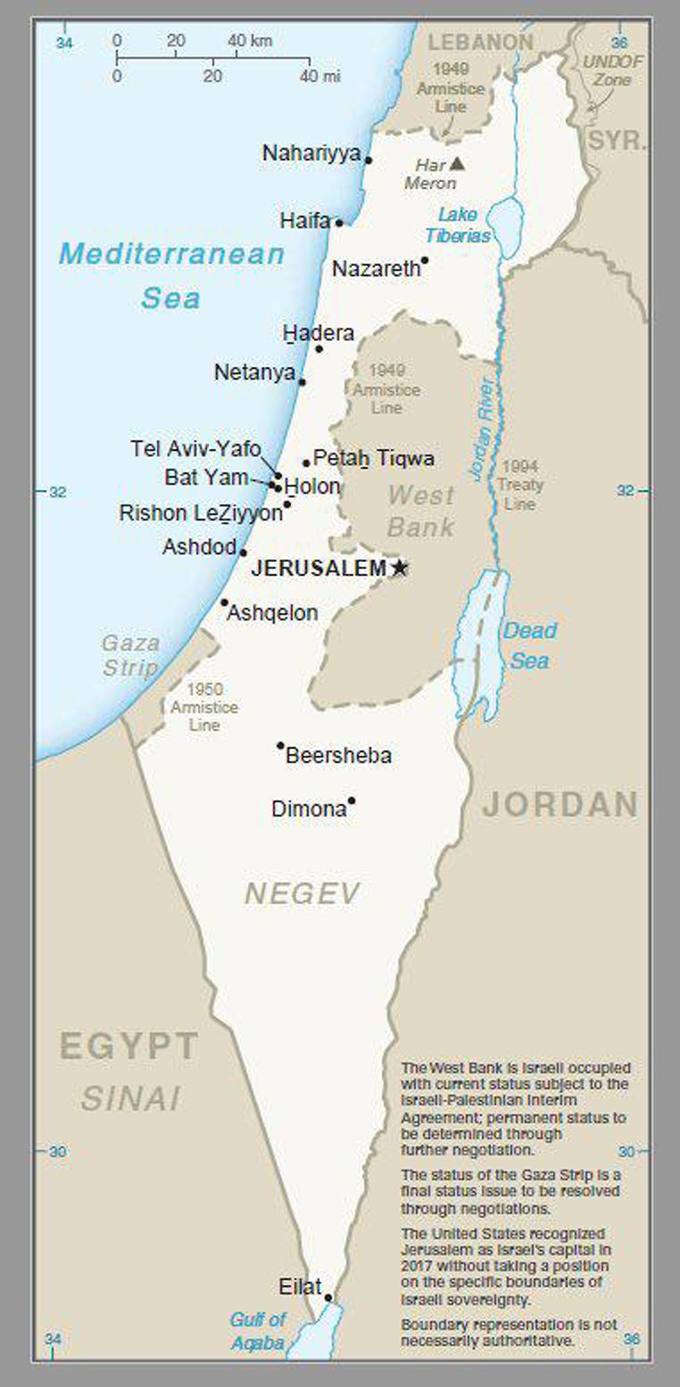 Карта Израиля с Голанами