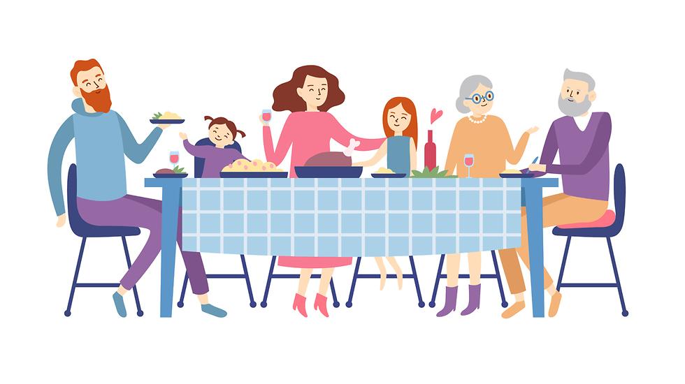 איור של ארוחה משפחתית (איור: Shutterstock)