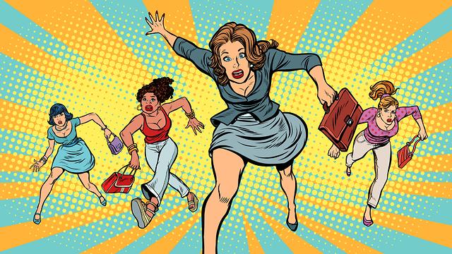 איור של נשים מבוהלות (איור: Shutterstock)