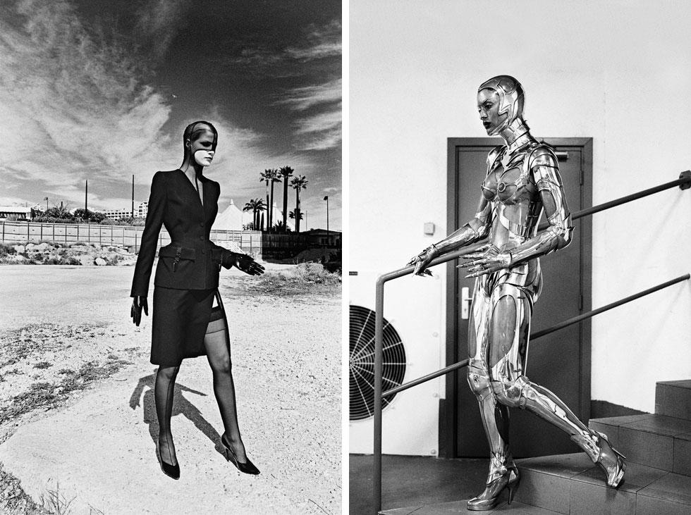 מימין: עיצוב של מוגלר במגזין ווג האמריקאי בנובמבר 1995. משמאל: עיצוב של מוגלר מקולקציית סתיו-חורף 1998-99 (צילום: The Helmut Newton Estate©)
