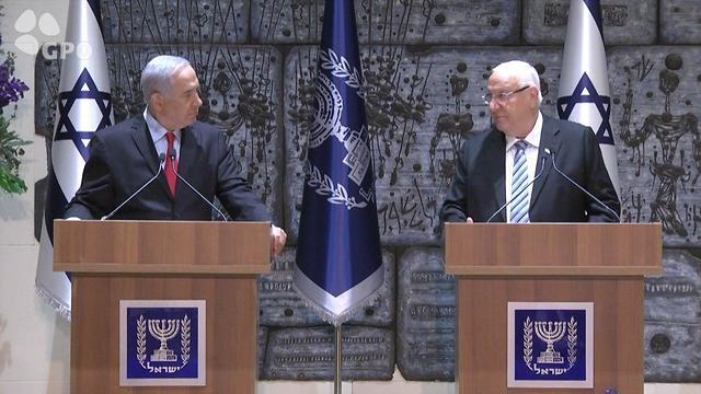Netanyahu and Rivlin make a joint statement (Photo: GPO)