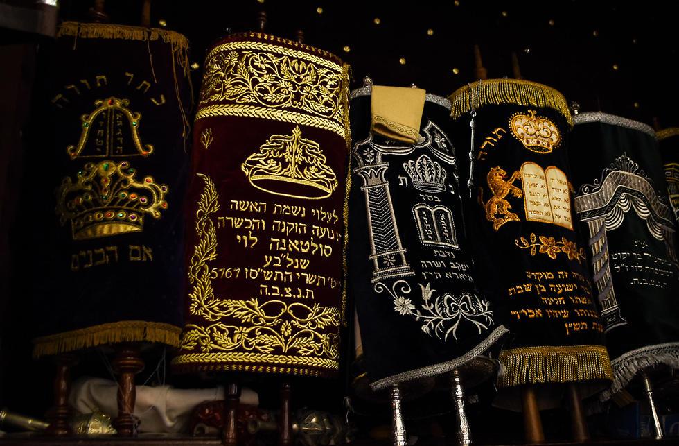 Torah scrolls in the ark of Em Habonim Synagogue of Casablanca