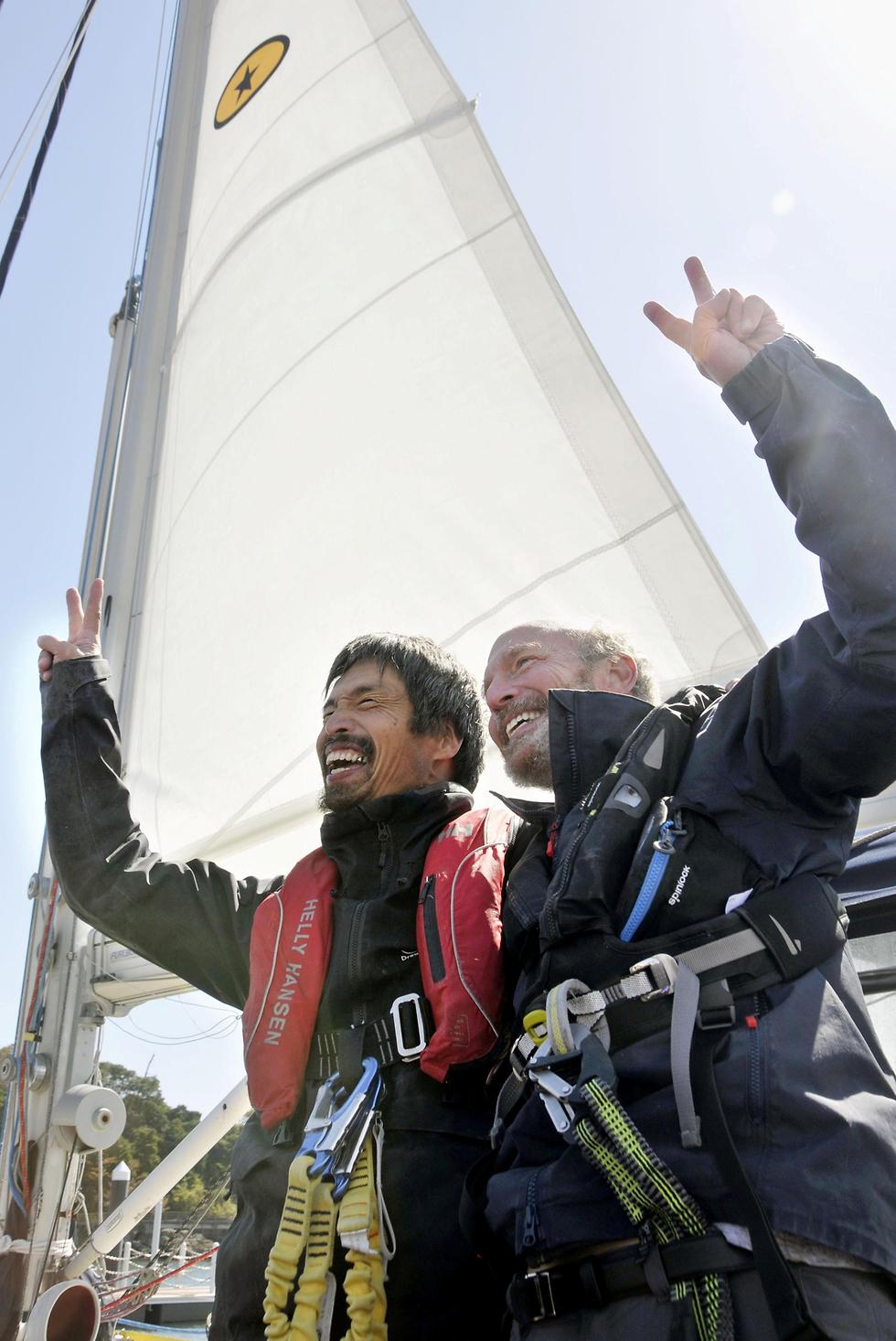 יפן יפני עיוור השלים הפלגה מסע ב אוקיינוס השקט (צילום: רויטרס)