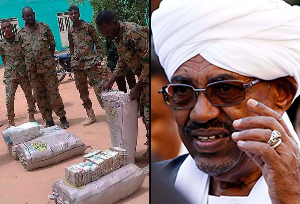 מיליוני דולרים נמצאו בשקי גרעינים בביתו של עומאר אל באשיר נשיא סודן המודח (צילום: EPA)