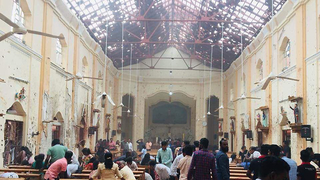 The scene of a blast at a church in Colombo (Photo: Twitter)