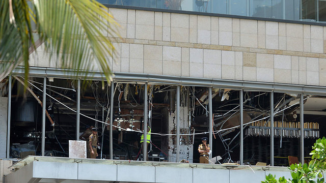 The Shangri-La Hotel in Colombo after the blast (Photo: AFP)