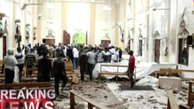 A screenshot from Hiru TV shows damage inside St. Anthony's Shrine after a blast in Colombo, Sri Lanka
