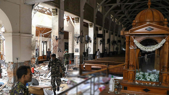 Inside St. Anthony's Shrine in Kochchikade church it was hit by a blast (Photo: AFP)