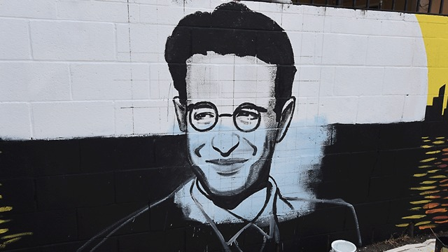 A partially completed memorial for Daniel Pearl near his old neigborhood in Los Angeles