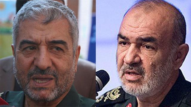 מפקד משמרות המהפכה של איראן מוחמד עלי ג'עפרי ו חוסיין סלאמי (צילום: AP)