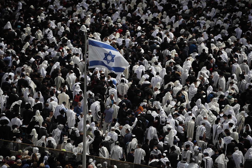 תפילת הכוהנים בכותל המערבי בירושלים (צילום: AFP)