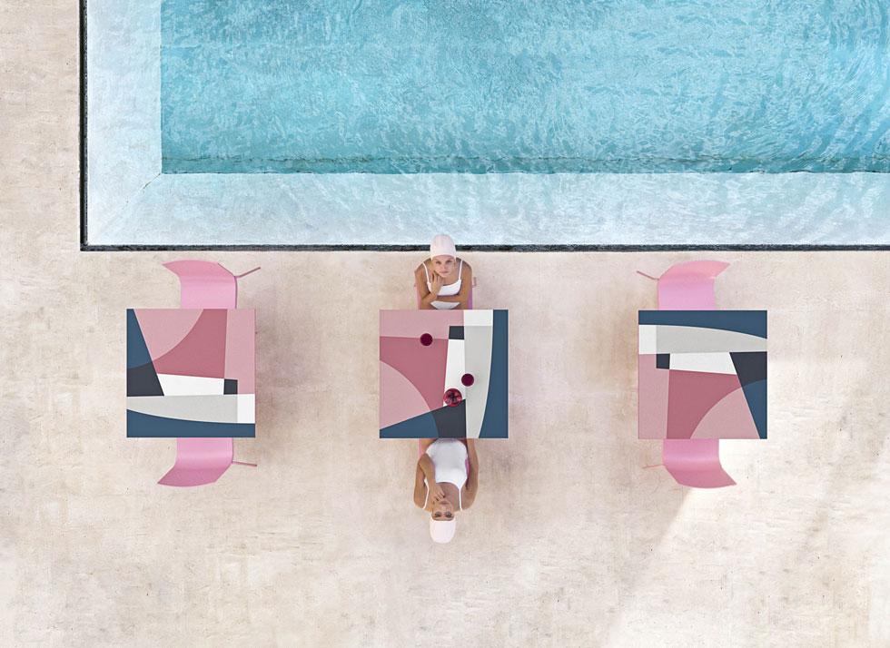 Abstract Mona, שולחנות הגן של דיאבלה מציגים את העיצוב הגרפי של Jonathan Lawes