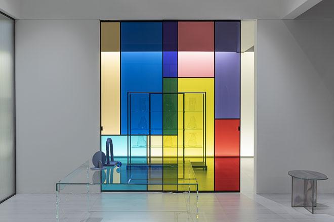Sherazade Patchwork, הגרסה הצבעונית של מערכת המחיצות שעיצב פיירו ליסוני ל-Glas Italia