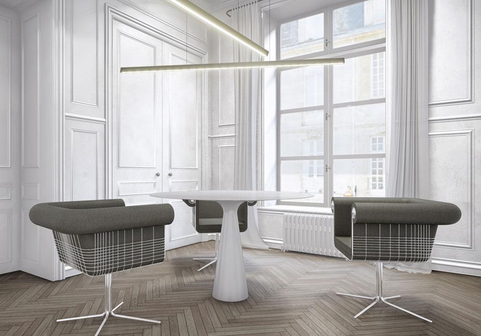 זוג האדריכלים-מעצבים אלון ברנוביץ' ואירנה קרוננברג בעיבוד מחודש לכורסת צ'סטרפילד, למותג ההולנדי Lensvelt
