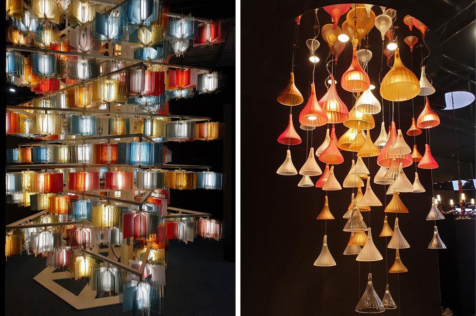 בביתן של Salviati, בית התאורה מזכוכית מוראנו. מימין: Sintesi, בעיצוב דווידה ברונו (צילום: סיגל נמיר)