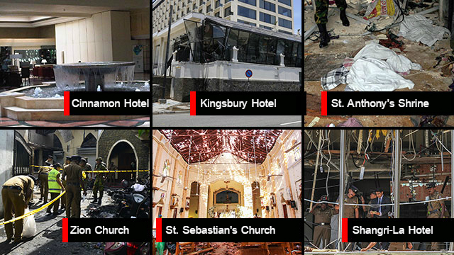 The sites hit in the Easter Sunday bombings in Sri Lanka