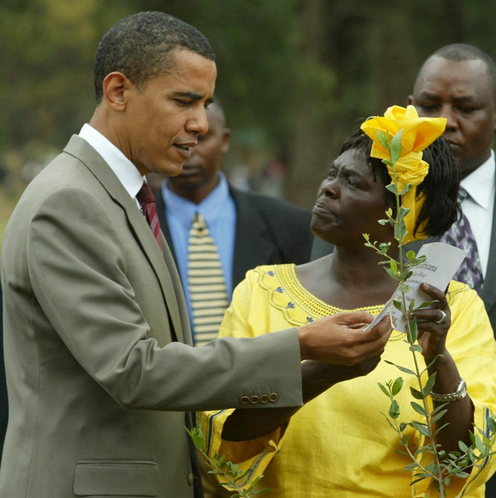ואנגארי מאטאאי עם נשיא ארה