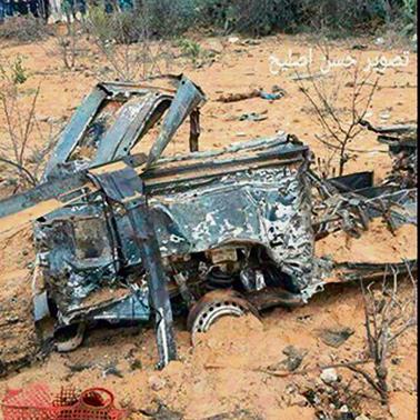 שרידי הרכב ששימשו את הכוח הצבאי בפעולה בחאן־יונס