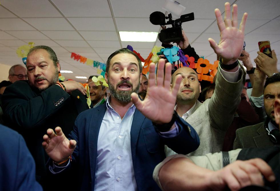 סנטיאגו אבסקאל ראש מפלגת ווקס vox הימין הקיצוני ספרד (צילום: AP)