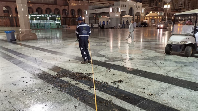Cleaning the mosque in Saudi Arabia