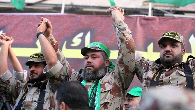 Baha Abu Al Ata with members of the Islamic Jihad's Military Wing