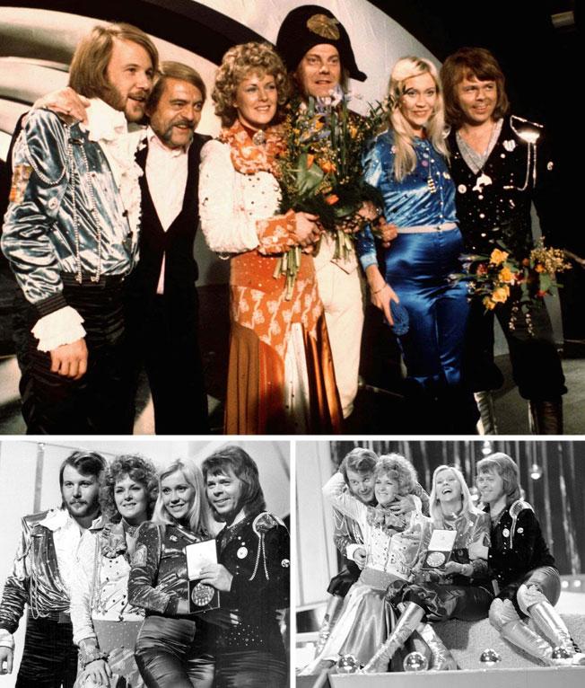 """שבדיה, 1974. ארבעת חברי להקת אבבא והלהיט """"ווטרלו"""", עלו אל הבמה בתלבושות צבעוניות שנראו כמו הלחמה בין בגדי הדיסקו הפופולאריים באותו עשור לאלמנטים הלקוחים מאופנת הרוקוקו במאה ה-18  (צילום: Frank Barratt/GettyimagesIL, AP)"""