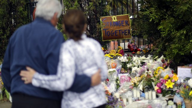 The memorial at the Chabad of Poway synagogue in Poway, Calif., in April 2019 (Photo: AP)