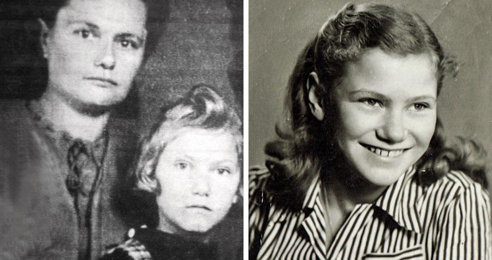"""חנה רוזנשטיין בצעירותה (מימין) ועם אמה, שרה ביקל. """"עברו בבריחתן מאות ק""""מ ברגל וברכבת באזור שהמה נאצים""""  (צילום: באדיבות משפחת רוזנשטיין)"""