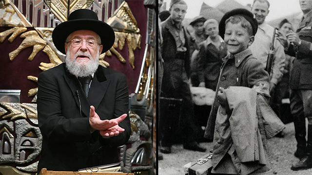הרב ישראל מאיר לאו. מימין: עוזב את מחנה הריכוז בוכנוולד ()