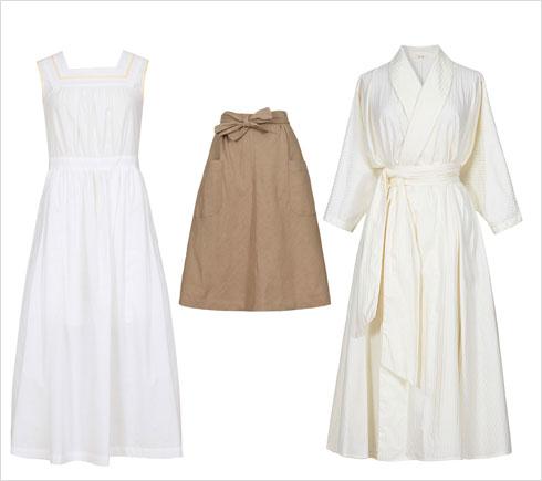 שמלת B ג'ורג'יה, 1,100 שקל | חצאית סינר, 650 שקל | שמלת סיפון, 900 שקל  (צילום: עדי גלעד)