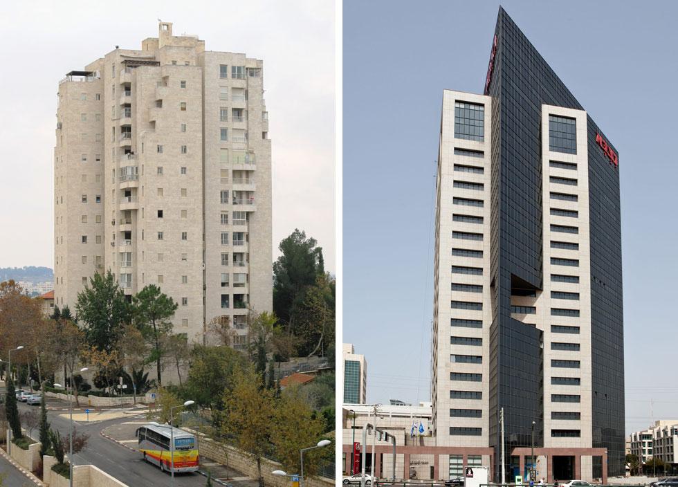 מגדל נצבא בת''א ומגדל עמריה בקצה שכונת טלביה בירושלים. ''הלחצים הם לא תמיד לטובה'' (צילום: אלי איתן, מיכאל יעקובסון, cc)